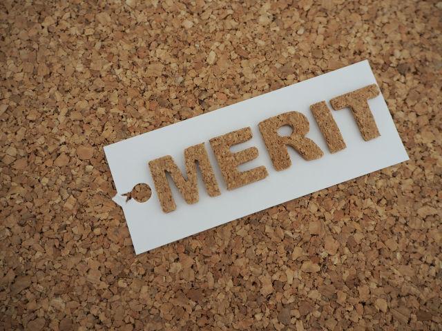 コルク素材できたMERITの文字
